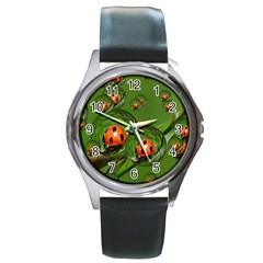 Ladybird Round Metal Watch (Silver Rim)