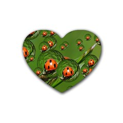 Ladybird Drink Coasters 4 Pack (Heart)