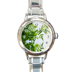 Leafs With Waterreflection Round Italian Charm Watch