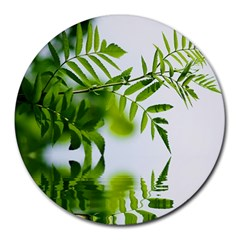 Leafs With Waterreflection 8  Mouse Pad (Round)