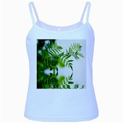 Leafs With Waterreflection Baby Blue Spaghetti Tank