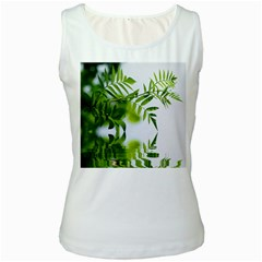 Leafs With Waterreflection Womens  Tank Top (White)