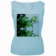Leafs With Waterreflection Womens  Tank Top (Baby Blue)