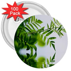 Leafs With Waterreflection 3  Button (100 pack)
