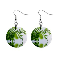 Leafs With Waterreflection Mini Button Earrings