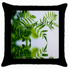 Leafs With Waterreflection Black Throw Pillow Case