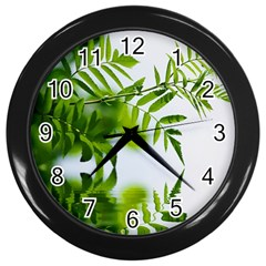 Leafs With Waterreflection Wall Clock (Black)