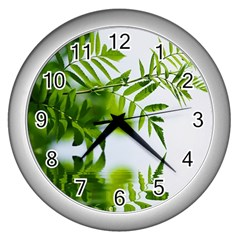 Leafs With Waterreflection Wall Clock (silver)