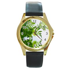 Leafs With Waterreflection Round Metal Watch (Gold Rim)