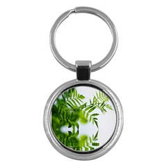 Leafs With Waterreflection Key Chain (round)