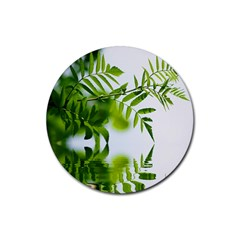 Leafs With Waterreflection Drink Coaster (round)