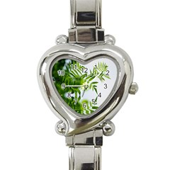 Leafs With Waterreflection Heart Italian Charm Watch