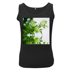 Leafs With Waterreflection Womens  Tank Top (Black)