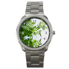 Leafs With Waterreflection Sport Metal Watch