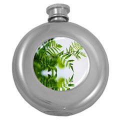 Leafs With Waterreflection Hip Flask (Round)