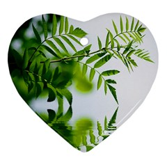 Leafs With Waterreflection Heart Ornament (Two Sides)
