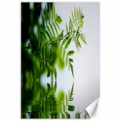 Leafs With Waterreflection Canvas 20  X 30  (unframed)