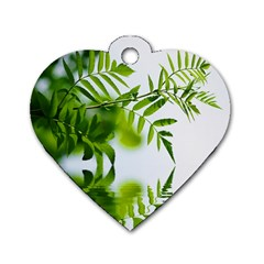 Leafs With Waterreflection Dog Tag Heart (two Sided)