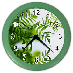 Leafs With Waterreflection Wall Clock (Color)