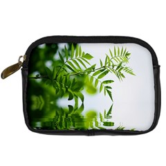 Leafs With Waterreflection Digital Camera Leather Case