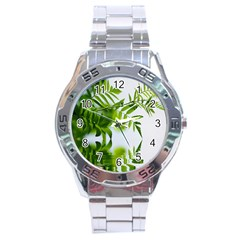 Leafs With Waterreflection Stainless Steel Watch (men s)