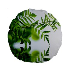 Leafs With Waterreflection 15  Premium Round Cushion