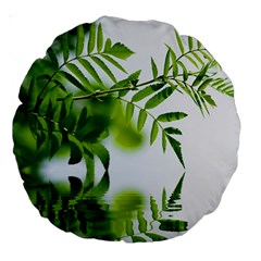 Leafs With Waterreflection 18  Premium Round Cushion