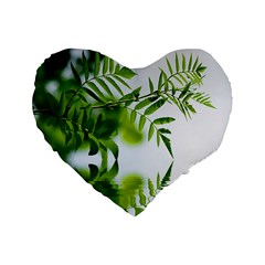 Leafs With Waterreflection 16  Premium Heart Shape Cushion