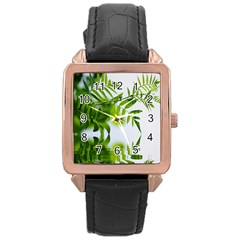 Leafs With Waterreflection Rose Gold Leather Watch