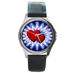 Love Round Metal Watch (silver Rim)