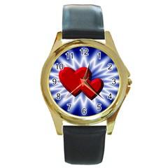 Love Round Metal Watch (Gold Rim)