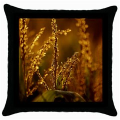 Field Black Throw Pillow Case