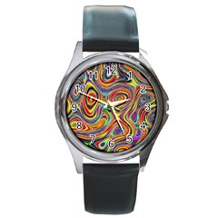 Modern  Round Metal Watch (Silver Rim)