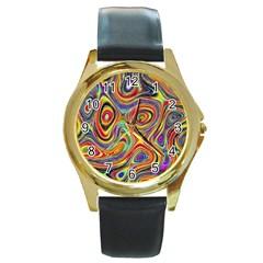 Modern  Round Metal Watch (Gold Rim)