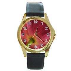 Poppy Round Metal Watch (gold Rim)