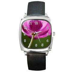 Poppy Square Leather Watch