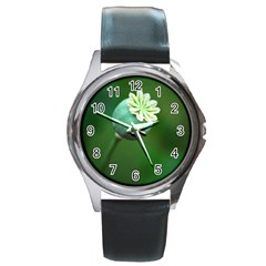 Poppy Capsules Round Metal Watch (Silver Rim)