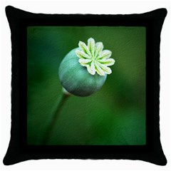 Poppy Capsules Black Throw Pillow Case