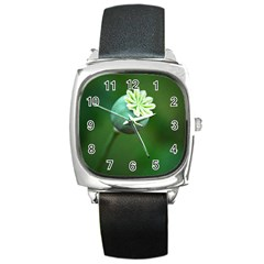 Poppy Capsules Square Leather Watch