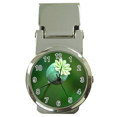 Poppy Capsules Money Clip With Watch