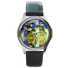 Marble Round Metal Watch (Silver Rim)