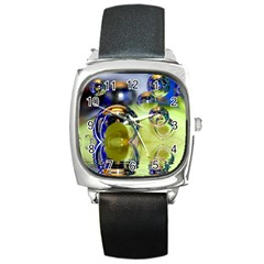 Marble Square Leather Watch