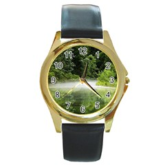 Foog Round Metal Watch (Gold Rim)