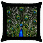 Peacock Black Throw Pillow Case Front