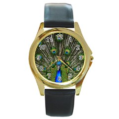 Peacock Round Metal Watch (gold Rim)