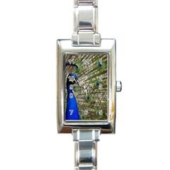 Peacock Rectangular Italian Charm Watch