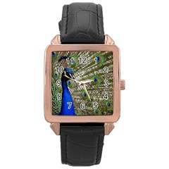 Peacock Rose Gold Leather Watch