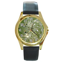 Dandelion Round Metal Watch (gold Rim)
