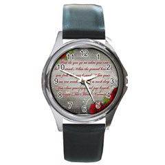Maggie s Quote Round Metal Watch (Silver Rim)