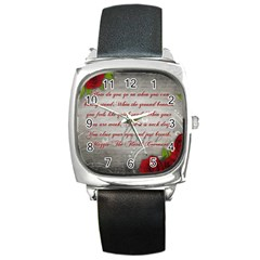 Maggie s Quote Square Leather Watch